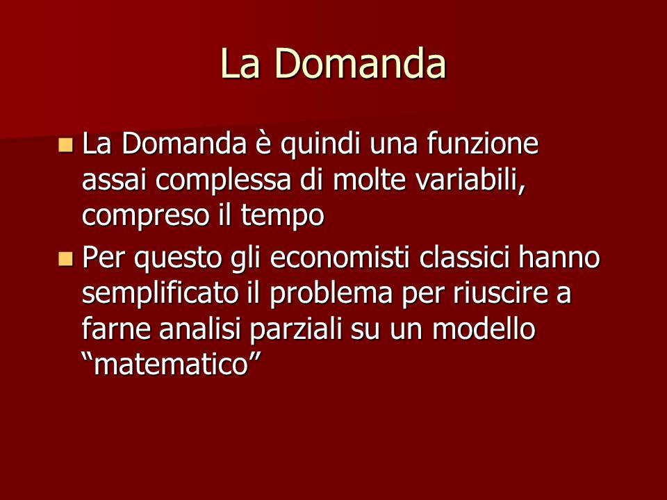 La Domanda La Domanda è quindi una funzione assai complessa di molte variabili, compreso il tempo La Domanda è quindi una funzione assai complessa di