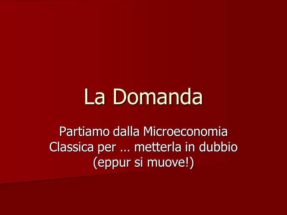 La Domanda Partiamo dalla Microeconomia Classica per … metterla in dubbio (eppur si muove!)
