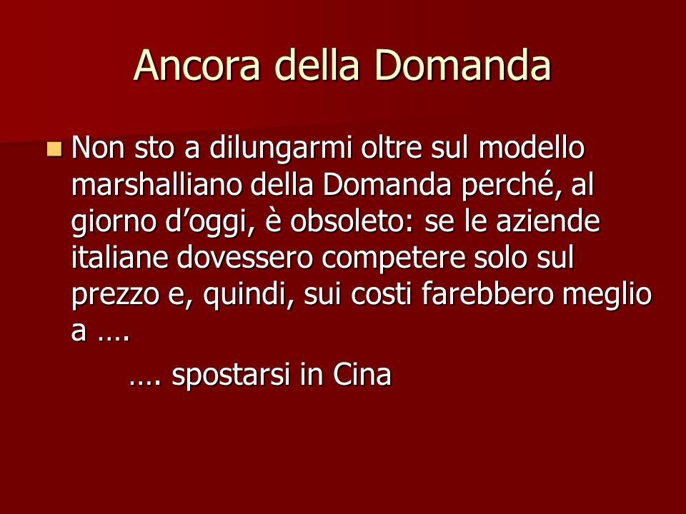 Ancora della Domanda Non sto a dilungarmi oltre sul modello marshalliano della Domanda perché, al giorno doggi, è obsoleto: se le aziende italiane dov