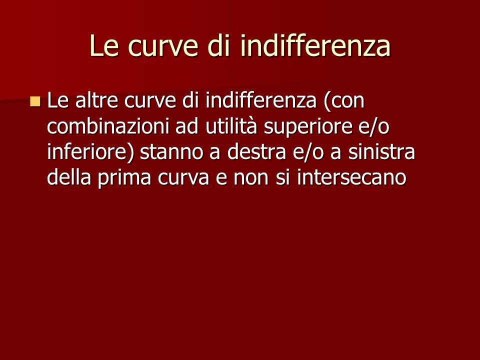 Le curve di indifferenza Le altre curve di indifferenza (con combinazioni ad utilità superiore e/o inferiore) stanno a destra e/o a sinistra della pri