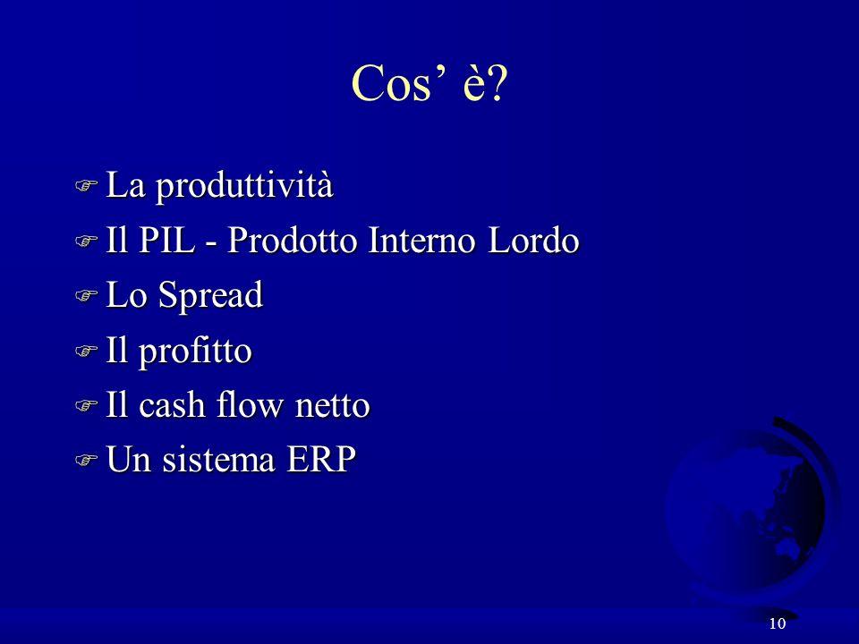 10 Cos è? F La produttività F Il PIL - Prodotto Interno Lordo F Lo Spread F Il profitto F Il cash flow netto F Un sistema ERP