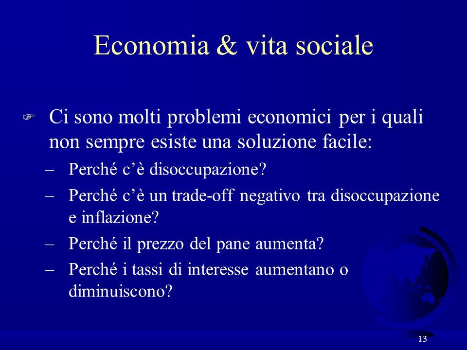 13 F Ci sono molti problemi economici per i quali non sempre esiste una soluzione facile: –Perché cè disoccupazione? –Perché cè un trade-off negativo