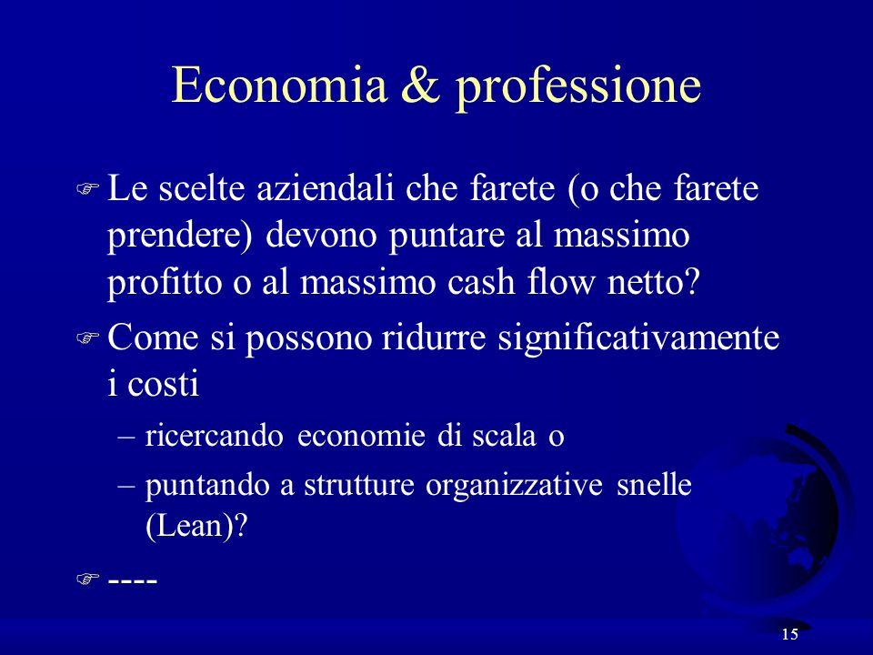 15 Economia & professione F Le scelte aziendali che farete (o che farete prendere) devono puntare al massimo profitto o al massimo cash flow netto? F