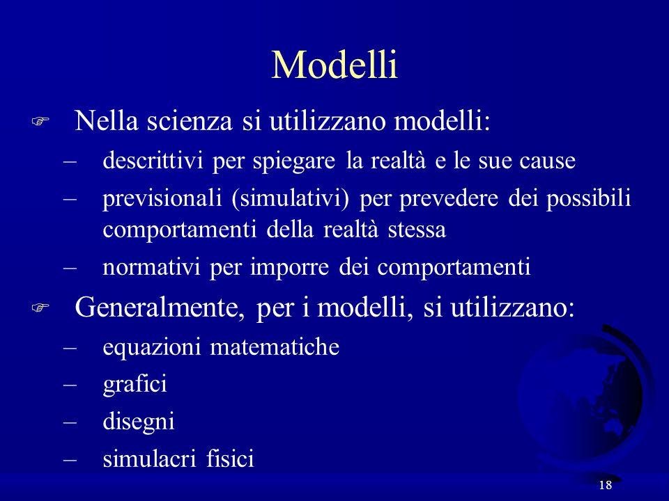 18 F Nella scienza si utilizzano modelli: –descrittivi per spiegare la realtà e le sue cause –previsionali (simulativi) per prevedere dei possibili co