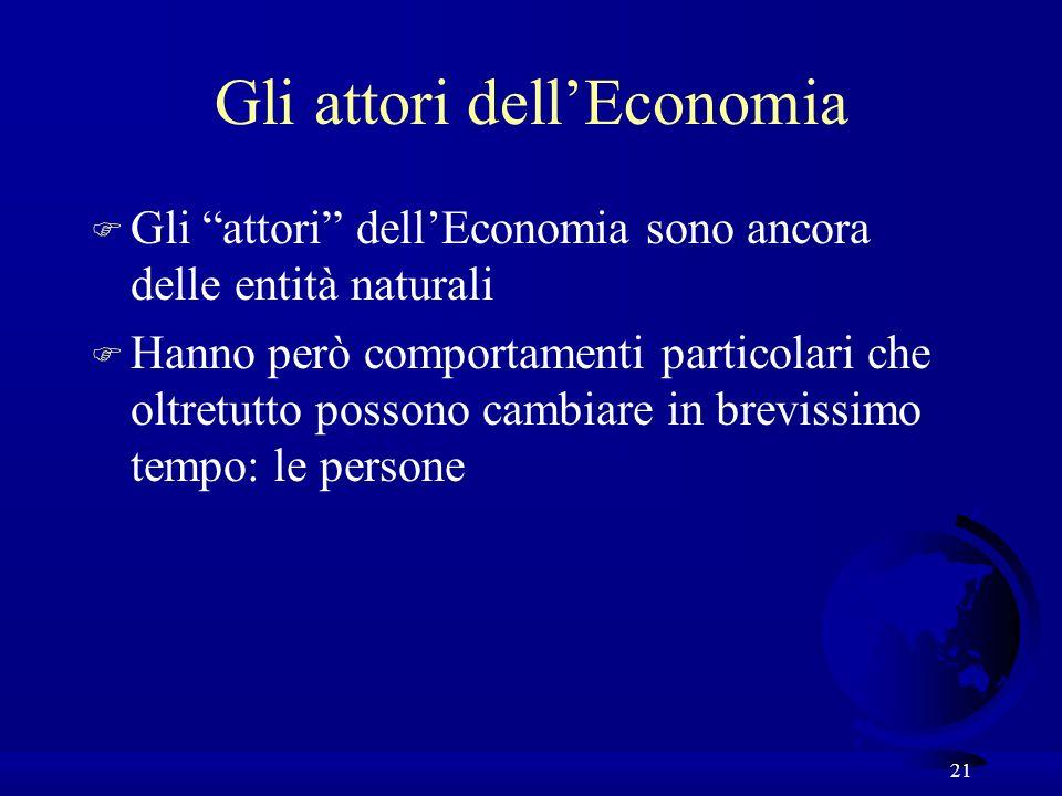 21 Gli attori dellEconomia F Gli attori dellEconomia sono ancora delle entità naturali F Hanno però comportamenti particolari che oltretutto possono c