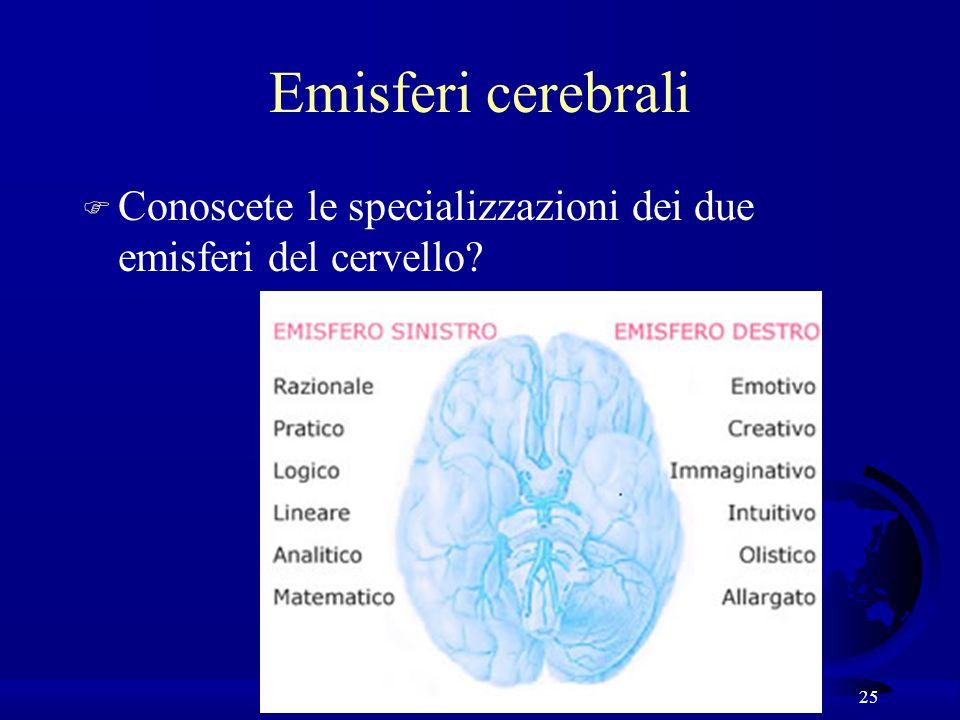 25 Emisferi cerebrali F Conoscete le specializzazioni dei due emisferi del cervello?