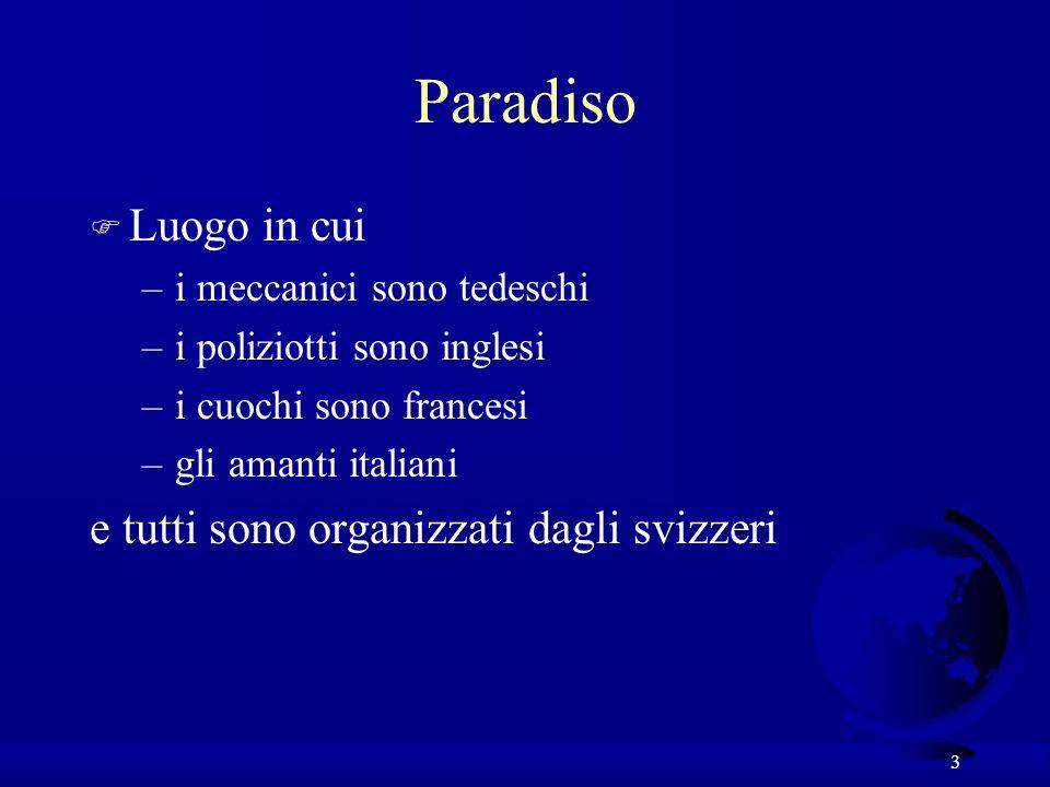 3 Paradiso F Luogo in cui –i meccanici sono tedeschi –i poliziotti sono inglesi –i cuochi sono francesi –gli amanti italiani e tutti sono organizzati