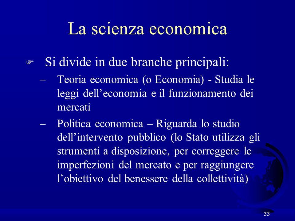 33 F Si divide in due branche principali: –Teoria economica (o Economia) - Studia le leggi delleconomia e il funzionamento dei mercati –Politica econo