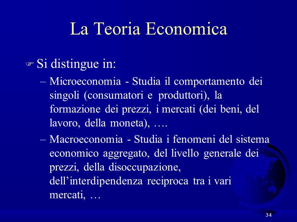 34 La Teoria Economica F Si distingue in: –Microeconomia - Studia il comportamento dei singoli (consumatori e produttori), la formazione dei prezzi, i