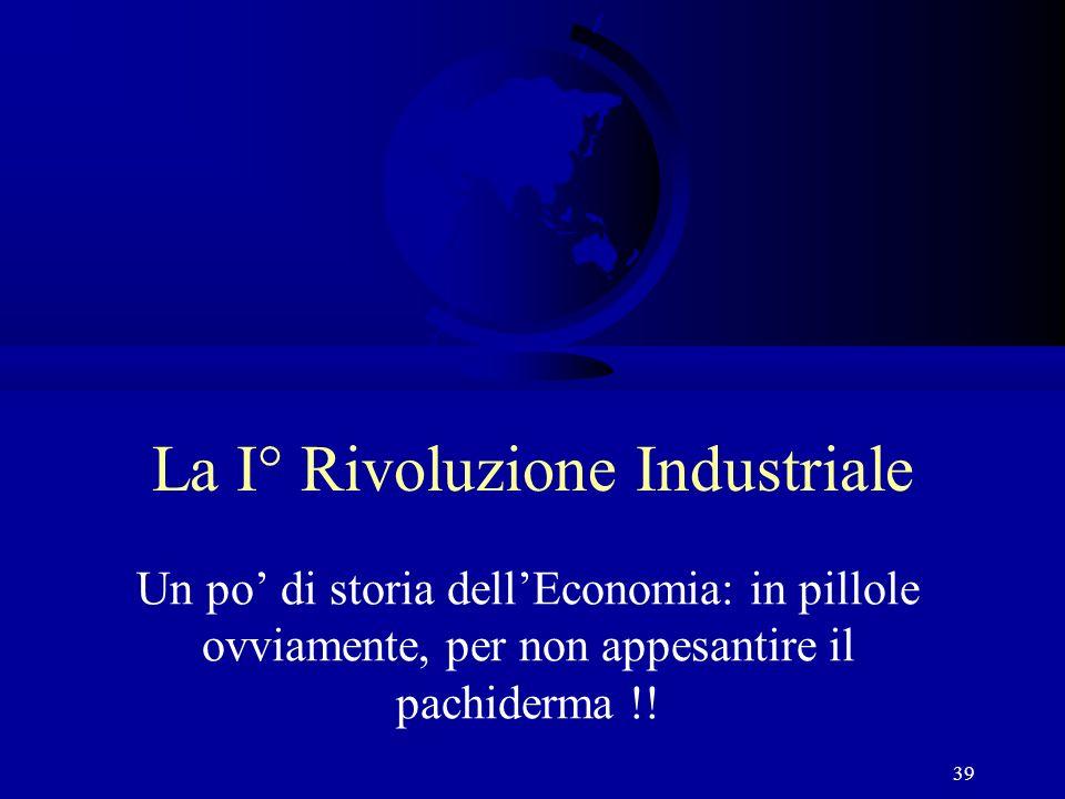 39 La I° Rivoluzione Industriale Un po di storia dellEconomia: in pillole ovviamente, per non appesantire il pachiderma !!