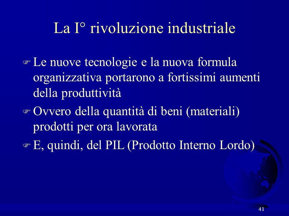 41 La I° rivoluzione industriale F Le nuove tecnologie e la nuova formula organizzativa portarono a fortissimi aumenti della produttività F Ovvero del