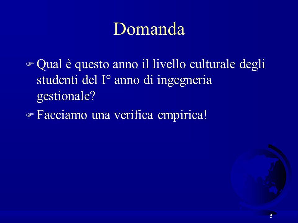 5 Domanda F Qual è questo anno il livello culturale degli studenti del I° anno di ingegneria gestionale? F Facciamo una verifica empirica!