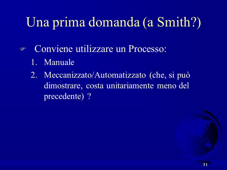 51 Una prima domanda (a Smith?) F Conviene utilizzare un Processo: 1.Manuale 2.Meccanizzato/Automatizzato (che, si può dimostrare, costa unitariamente