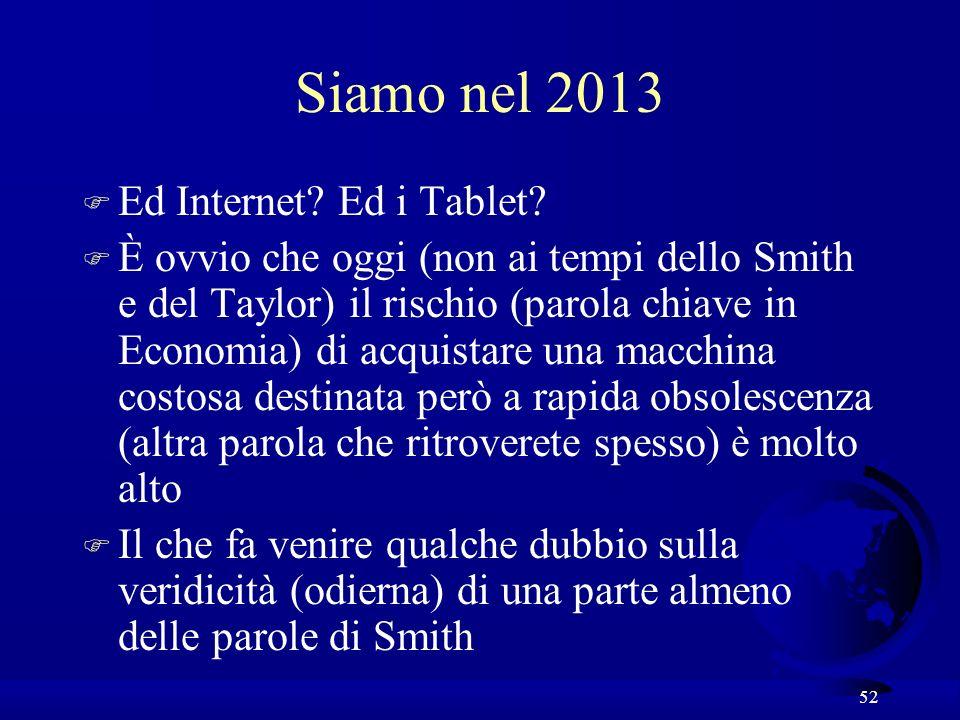 52 Siamo nel 2013 F Ed Internet? Ed i Tablet? F È ovvio che oggi (non ai tempi dello Smith e del Taylor) il rischio (parola chiave in Economia) di acq