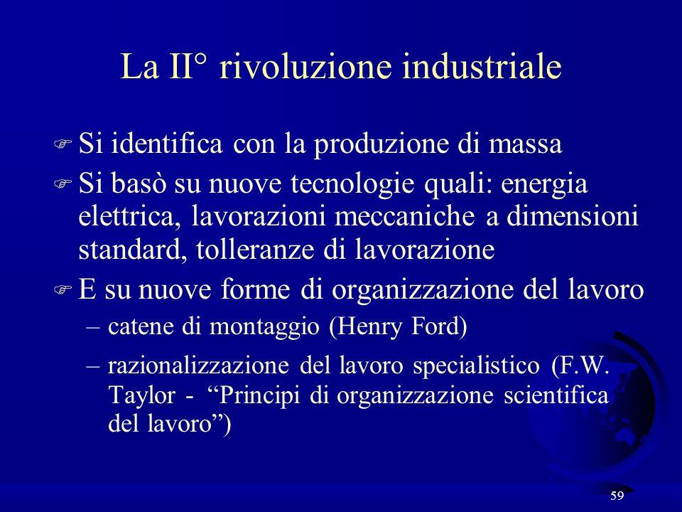 59 La II° rivoluzione industriale F Si identifica con la produzione di massa F Si basò su nuove tecnologie quali: energia elettrica, lavorazioni mecca