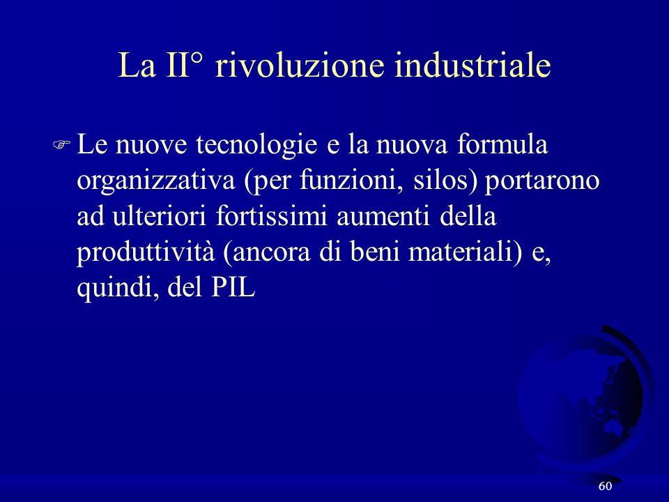 60 La II° rivoluzione industriale F Le nuove tecnologie e la nuova formula organizzativa (per funzioni, silos) portarono ad ulteriori fortissimi aumen