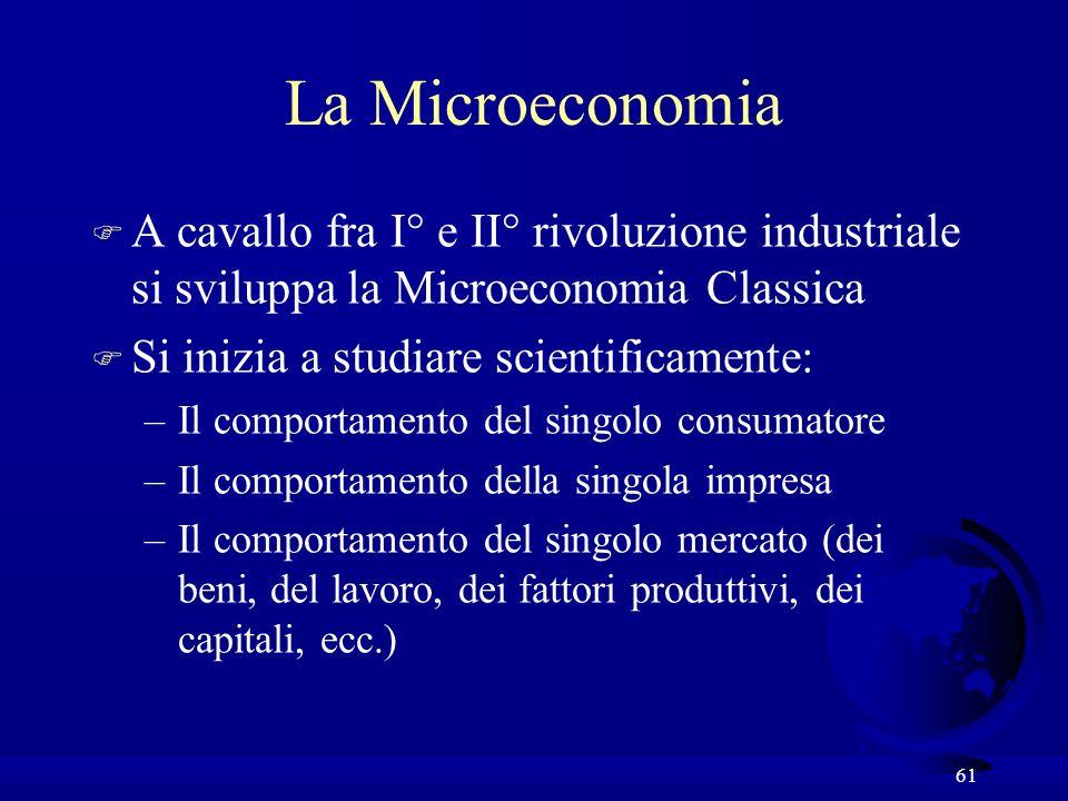 61 La Microeconomia F A cavallo fra I° e II° rivoluzione industriale si sviluppa la Microeconomia Classica F Si inizia a studiare scientificamente: –I
