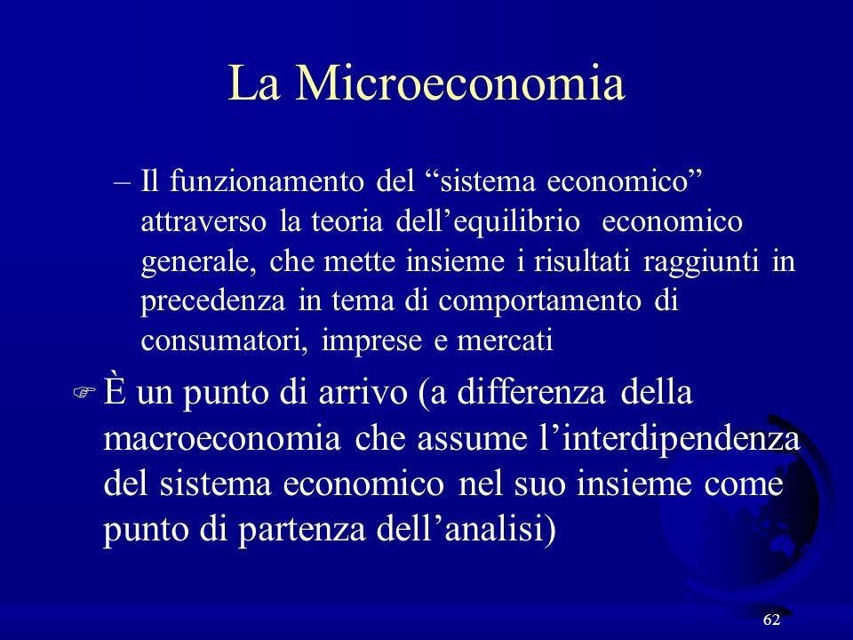 62 La Microeconomia –Il funzionamento del sistema economico attraverso la teoria dellequilibrio economico generale, che mette insieme i risultati ragg