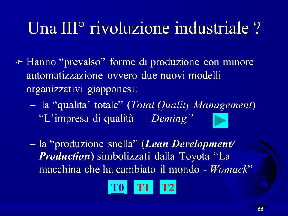 66 Una III° rivoluzione industriale ? F Hanno prevalso forme di produzione con minore automatizzazione ovvero due nuovi modelli organizzativi giappone