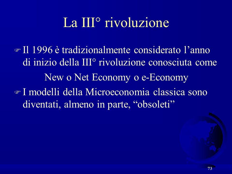 73 La III° rivoluzione F Il 1996 è tradizionalmente considerato lanno di inizio della III° rivoluzione conosciuta come New o Net Economy o e-Economy F