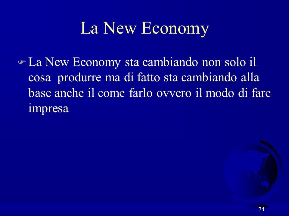 74 La New Economy F La New Economy sta cambiando non solo il cosa produrre ma di fatto sta cambiando alla base anche il come farlo ovvero il modo di f