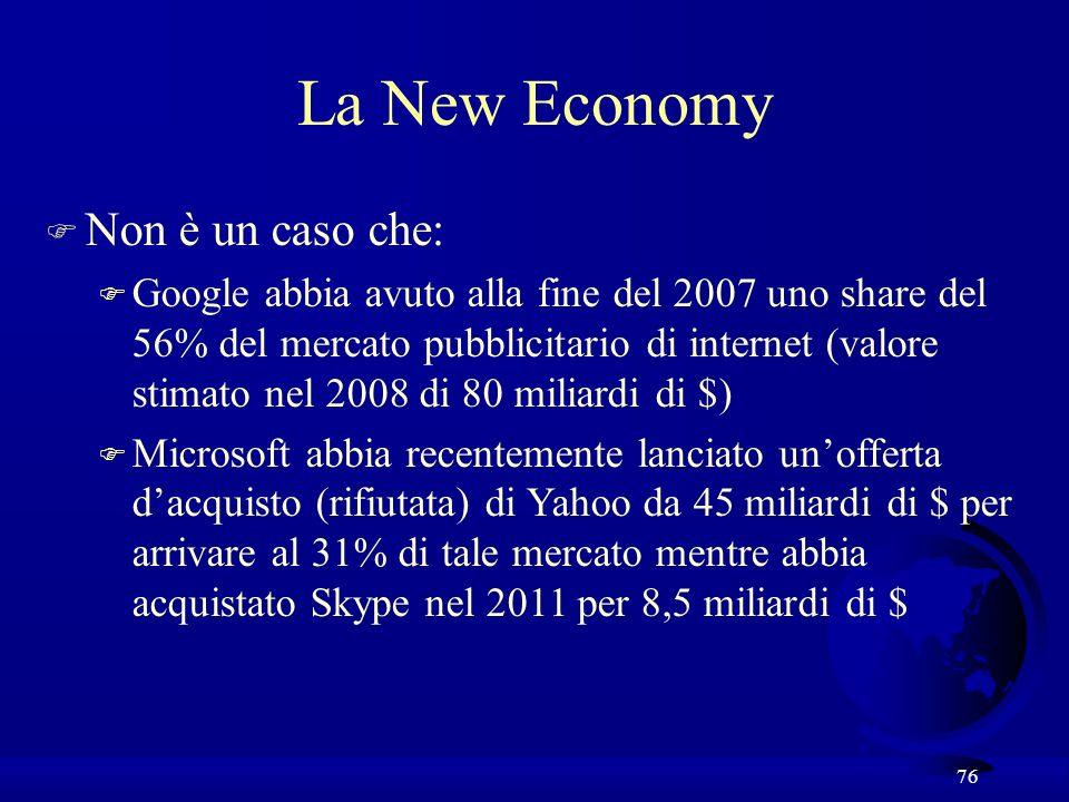 76 F Non è un caso che: F Google abbia avuto alla fine del 2007 uno share del 56% del mercato pubblicitario di internet (valore stimato nel 2008 di 80