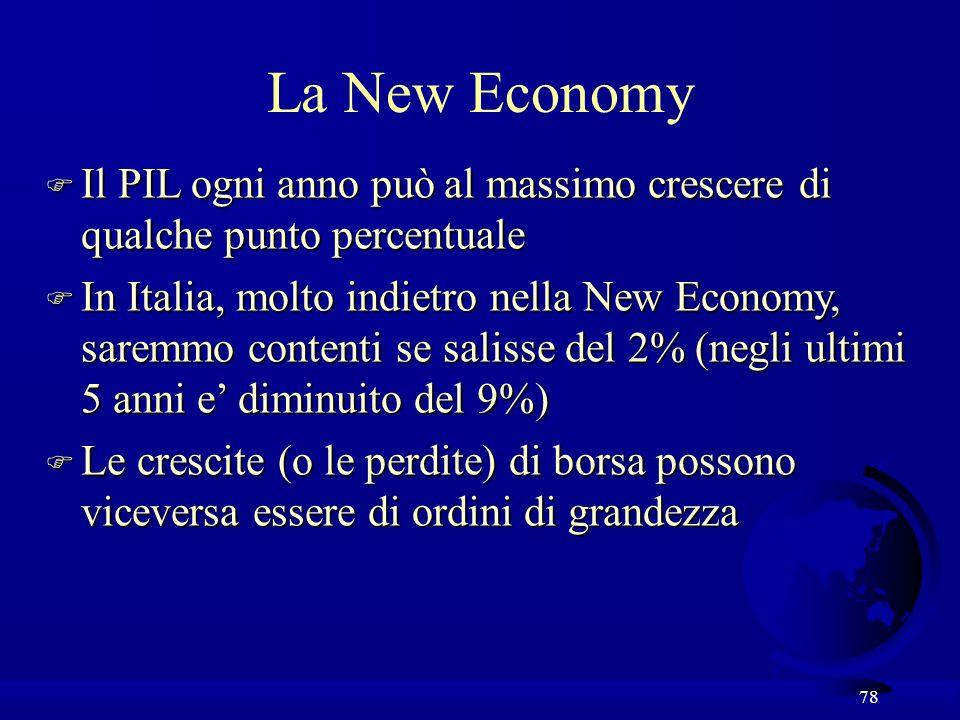 78 La New Economy F Il PIL ogni anno puòal massimo crescere di qualche punto percentuale F Il PIL ogni anno può al massimo crescere di qualche punto p