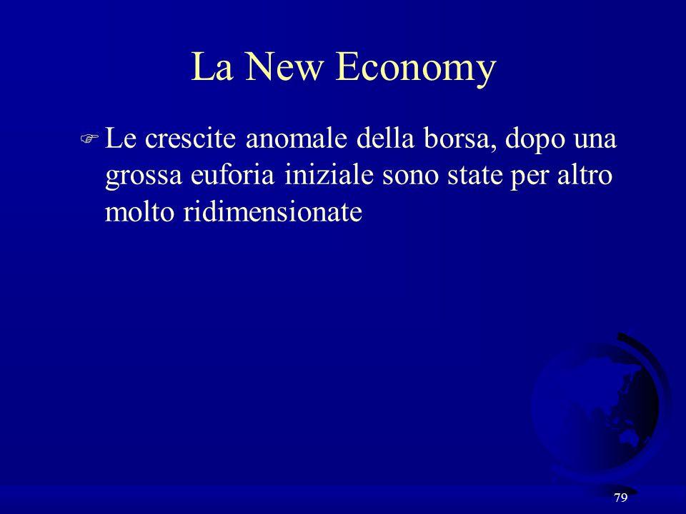 79 La New Economy F Le crescite anomale della borsa, dopo una grossa euforia iniziale sono state per altro molto ridimensionate