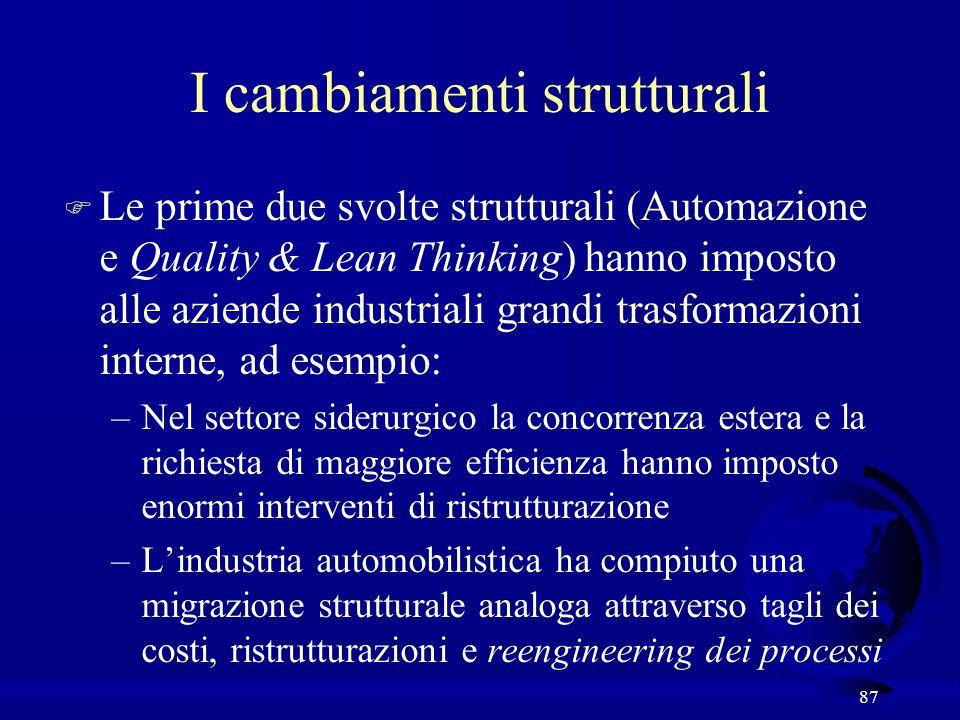87 I cambiamenti strutturali F Le prime due svolte strutturali (Automazione e Quality & Lean Thinking) hanno imposto alle aziende industriali grandi t