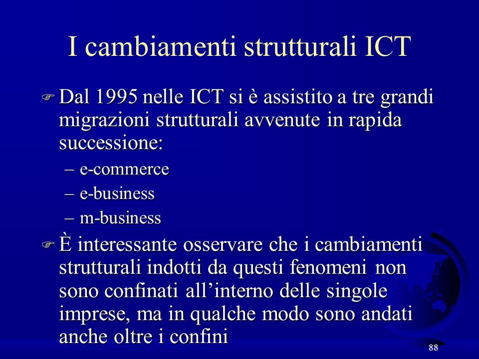 88 I cambiamenti strutturali ICT F Dal 1995 nelle ICT si è assistito a tre grandi migrazioni strutturali avvenute in rapida successione: –e-commerce –