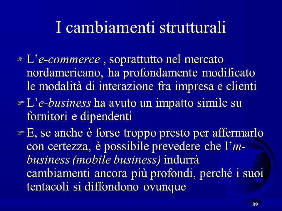 89 I cambiamenti strutturali F Le-commerce, soprattutto nel mercato nordamericano, ha profondamente modificato le modalità di interazione fra impresa