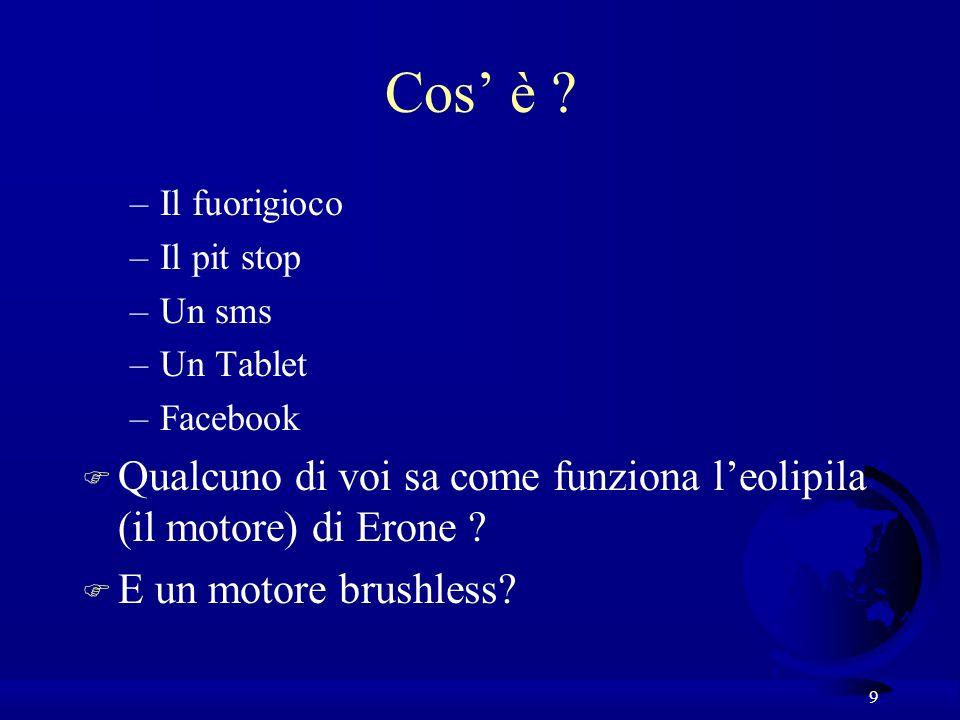 9 Cos è ? –Il fuorigioco –Il pit stop –Un sms –Un Tablet –Facebook F Qualcuno di voi sa come funziona leolipila (il motore) di Erone ? F E un motore b