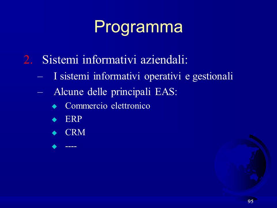 95 Programma 2.Sistemi informativi aziendali: –I sistemi informativi operativi e gestionali –Alcune delle principali EAS: u Commercio elettronico u ER