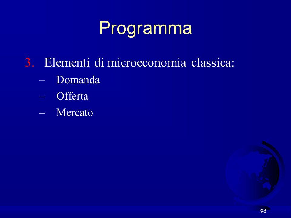 96 Programma 3.Elementi di microeconomia classica: –Domanda –Offerta –Mercato