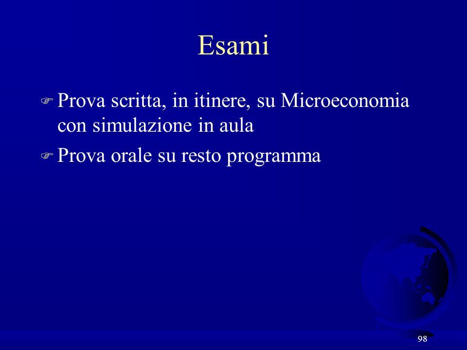 98 Esami F Prova scritta, in itinere, su Microeconomia con simulazione in aula F Prova orale su resto programma