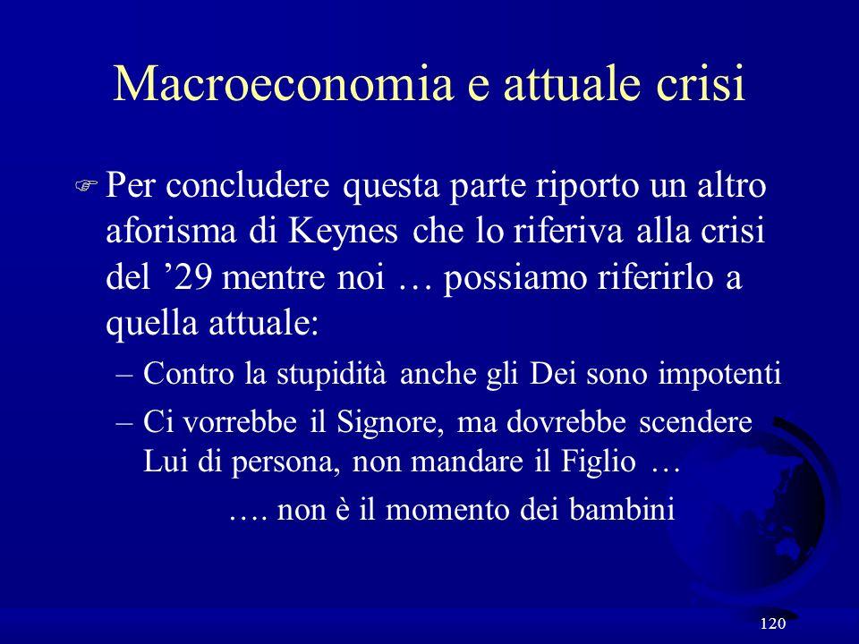 120 Macroeconomia e attuale crisi F Per concludere questa parte riporto un altro aforisma di Keynes che lo riferiva alla crisi del 29 mentre noi … possiamo riferirlo a quella attuale: –Contro la stupidità anche gli Dei sono impotenti –Ci vorrebbe il Signore, ma dovrebbe scendere Lui di persona, non mandare il Figlio … ….