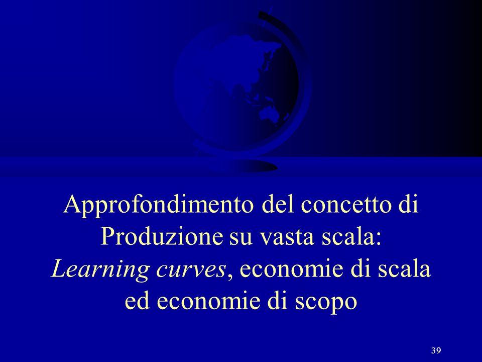 39 Approfondimento del concetto di Produzione su vasta scala: Learning curves, economie di scala ed economie di scopo