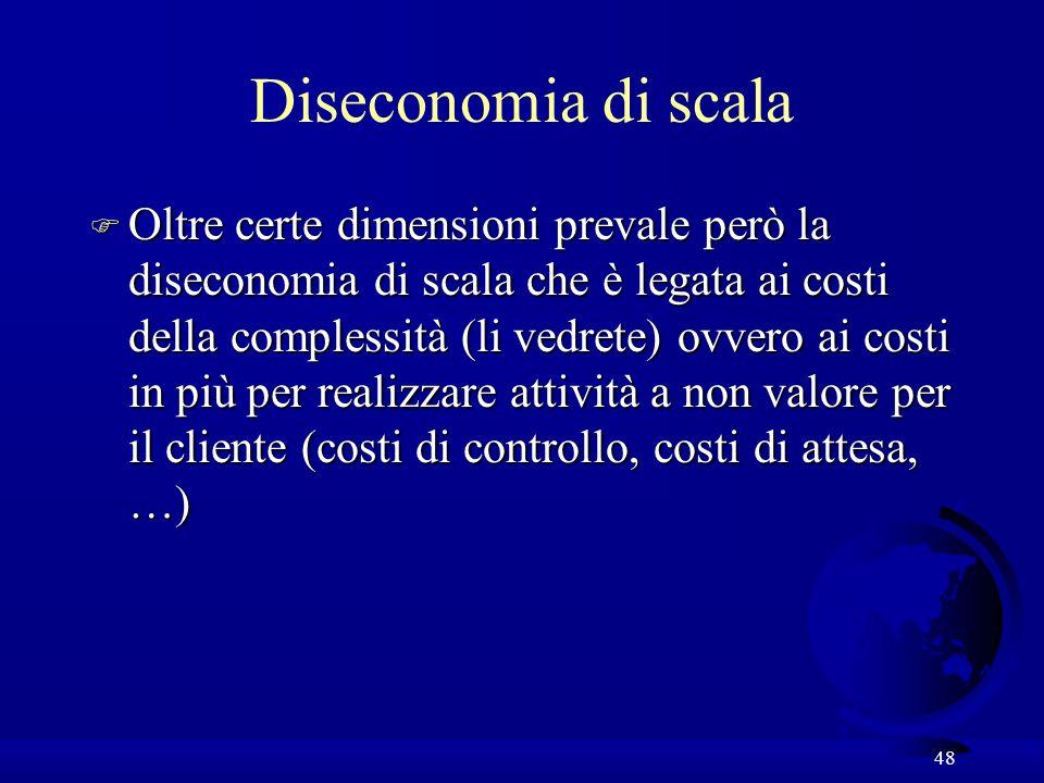 48 Diseconomia di scala F Oltre certe dimensioni prevale però la diseconomia di scala che è legata ai costi della complessità (li vedrete) ovvero ai costi in più per realizzare attività a non valore per il cliente (costi di controllo, costi di attesa, …)