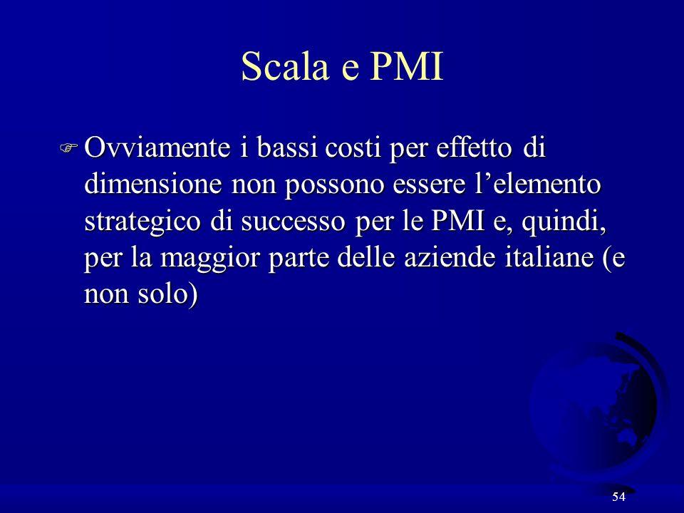 54 Scala e PMI F Ovviamente i bassi costi per effetto di dimensione non possono essere lelemento strategico di successo per le PMI e, quindi, per la maggior parte delle aziende italiane (e non solo)