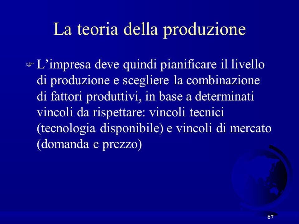 67 La teoria della produzione F Limpresa deve quindi pianificare il livello di produzione e scegliere la combinazione di fattori produttivi, in base a determinati vincoli da rispettare: vincoli tecnici (tecnologia disponibile) e vincoli di mercato (domanda e prezzo)