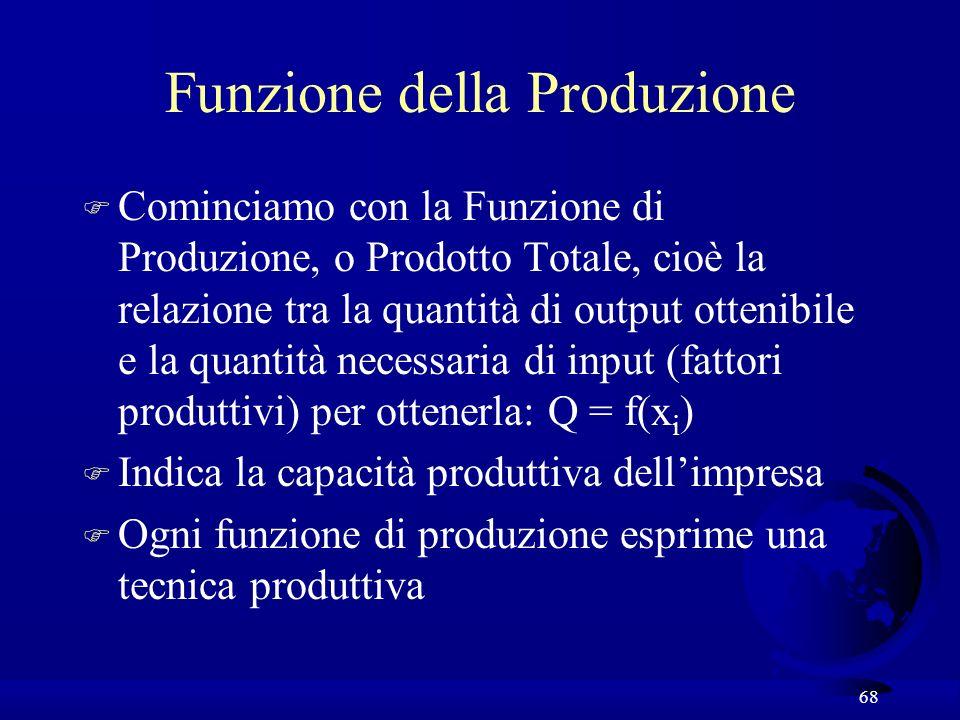 68 Funzione della Produzione F Cominciamo con la Funzione di Produzione, o Prodotto Totale, cioè la relazione tra la quantità di output ottenibile e la quantità necessaria di input (fattori produttivi) per ottenerla: Q = f(x i ) F Indica la capacità produttiva dellimpresa F Ogni funzione di produzione esprime una tecnica produttiva