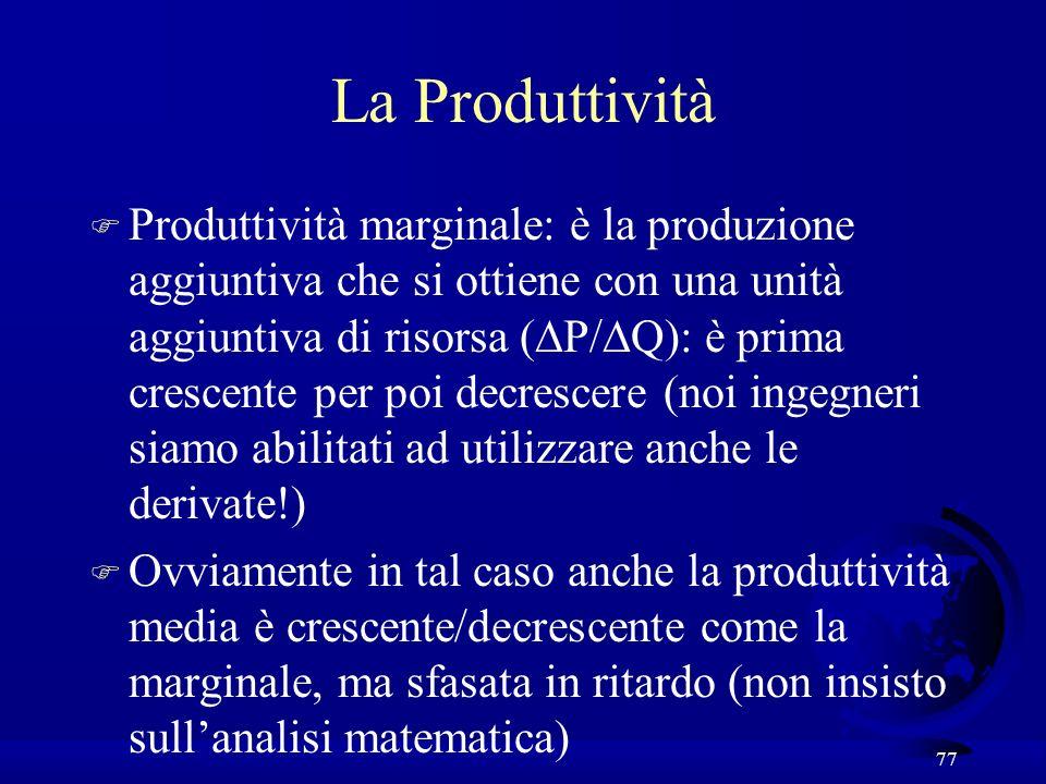 77 La Produttività Produttività marginale: è la produzione aggiuntiva che si ottiene con una unità aggiuntiva di risorsa ( P/ Q): è prima crescente per poi decrescere (noi ingegneri siamo abilitati ad utilizzare anche le derivate!) F Ovviamente in tal caso anche la produttività media è crescente/decrescente come la marginale, ma sfasata in ritardo (non insisto sullanalisi matematica)