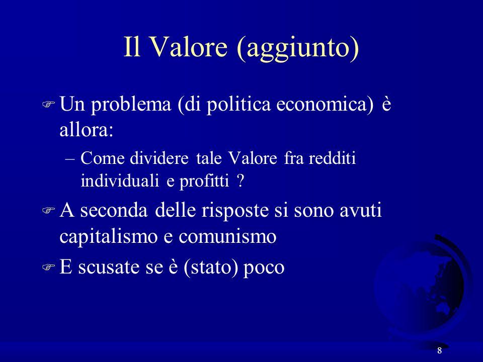 8 Il Valore (aggiunto) F Un problema (di politica economica) è allora: –Come dividere tale Valore fra redditi individuali e profitti .