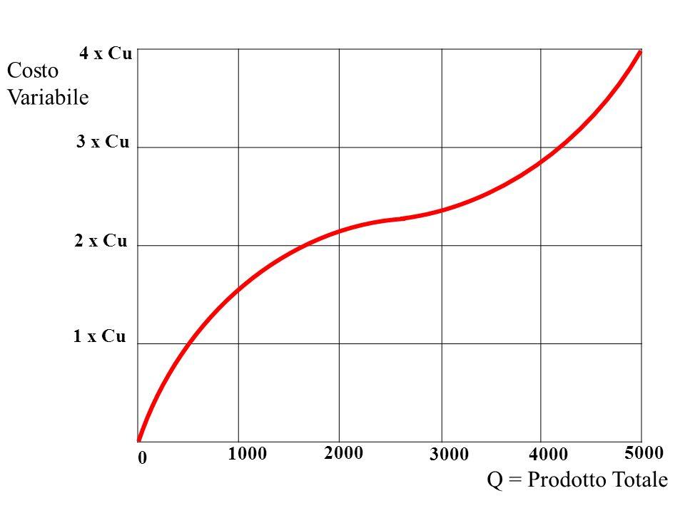 2000 1000 30004000 5000 Costo Variabile 0 Q = Prodotto Totale 1 x Cu 2 x Cu 3 x Cu 4 x Cu