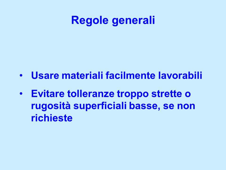 Regole generali Usare materiali facilmente lavorabili Evitare tolleranze troppo strette o rugosità superficiali basse, se non richieste