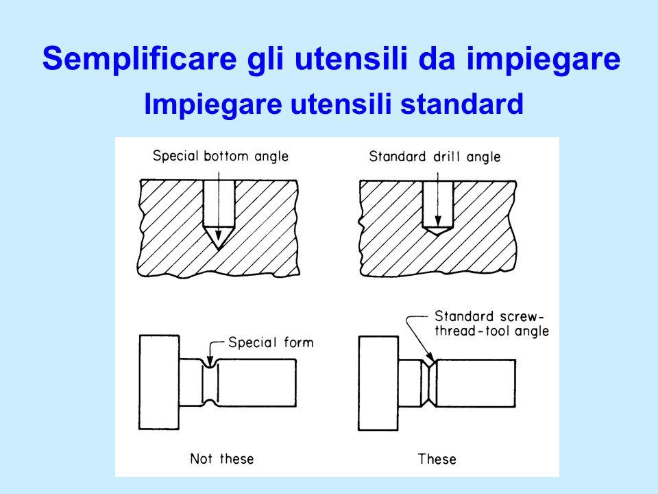 Semplificare gli utensili da impiegare Impiegare utensili standard