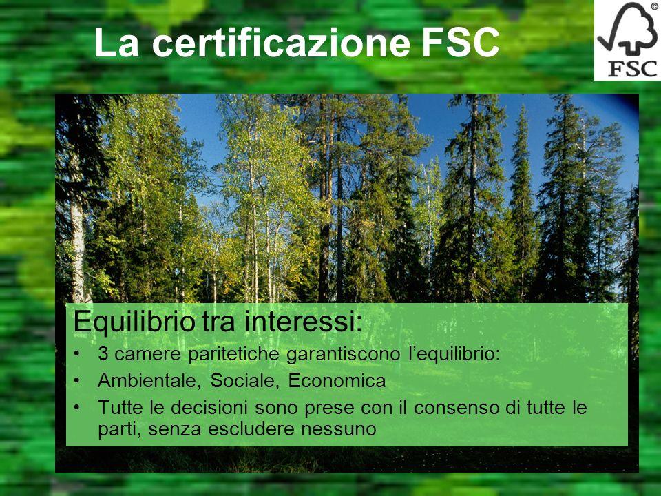 La certificazione FSC Seri controlli sul campo: La certezza di una buona gestione forestale Controllo della Catena di Custodia: Sicurezza dalla forest