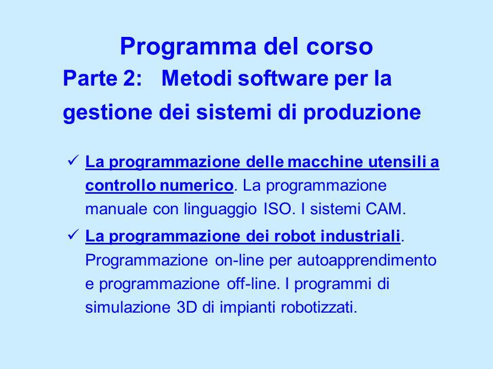 Parte 2: Metodi software per la gestione dei sistemi di produzione Programma del corso La programmazione delle macchine utensili a controllo numerico.