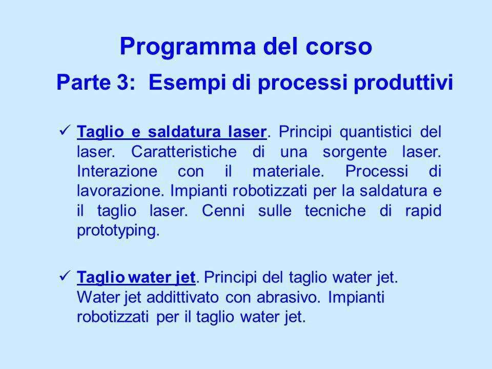 Parte 3: Esempi di processi produttivi Programma del corso Taglio e saldatura laser. Principi quantistici del laser. Caratteristiche di una sorgente l