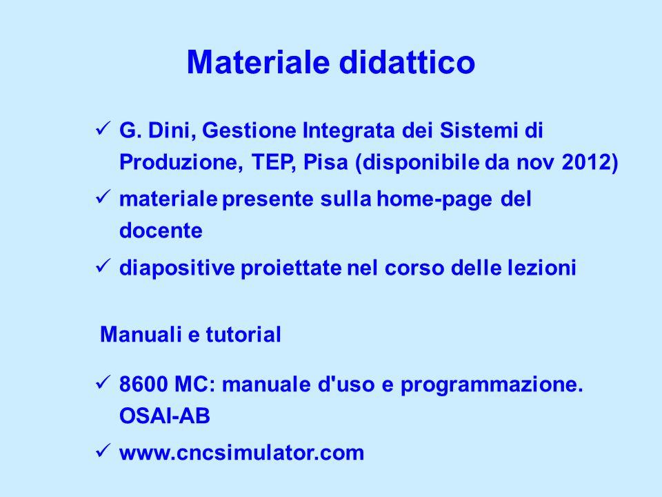 Materiale didattico G. Dini, Gestione Integrata dei Sistemi di Produzione, TEP, Pisa (disponibile da nov 2012) materiale presente sulla home-page del